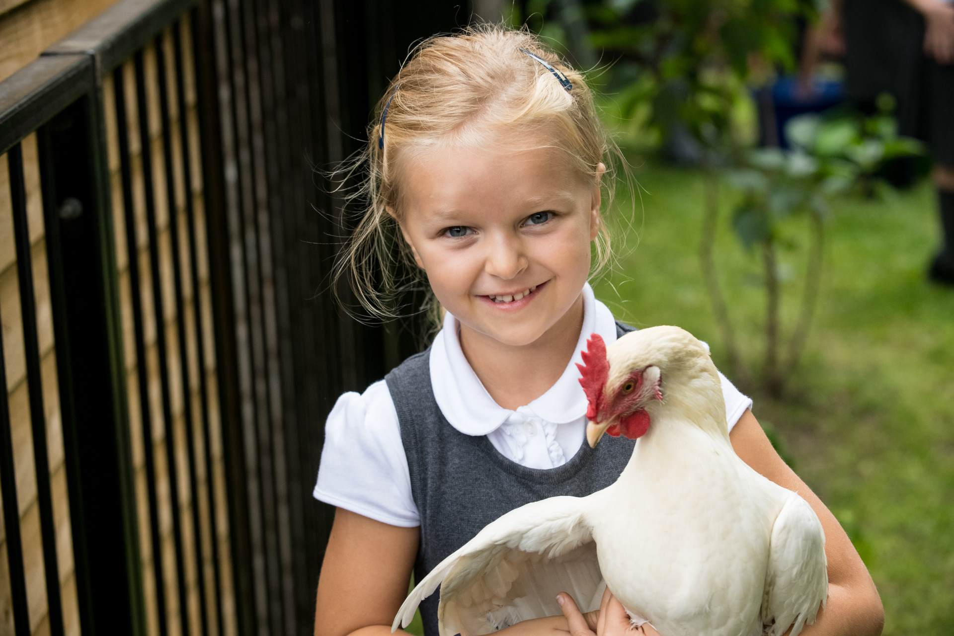 Girl holding a white chicken